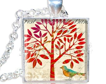 """25% OFF - Nature Tree and Bird 1"""" Square Glass Pendant or with Necklace - SQ100"""