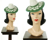 Vintage 1940s Hat - Rare 40s Sunhat Style Souvnir Tilt Hat in Painted Green and White Straw with Cherry Blossoms