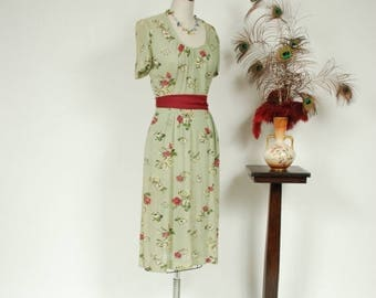 Memorial Weekend Sale - Vintage 1940s Dress - Sheer Mesh Day Dress in Seafoam Green with Fuchsia and Yellow Floral Print by Henry Rosenfeld