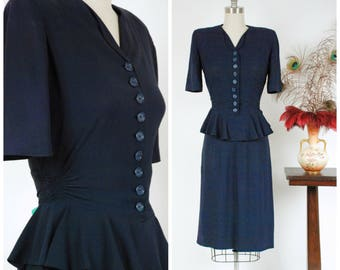 Vintage 1940s Dress -  Quintessential Navy Blue Rayon Crepe 40s Dress with Flirty Peplum and Button Front Bodice