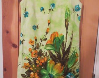 1970s Vintage Sleeveless Shift Dress by Tumbleweeds From The West Phoenix AZ / silkscreen floral design