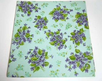Vintage Any Occasion All Occasion Wrapping Paper Light Blue Purple Violets Gift Wrap Paper