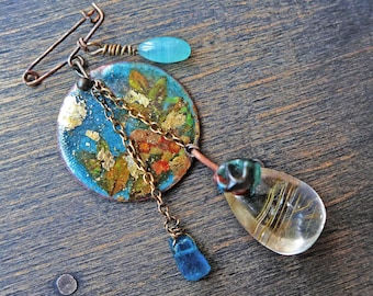 """Teal assemblage brooch, artisan boho mixed media handmade jewelry by fancifuldevices- """"Asobu"""""""