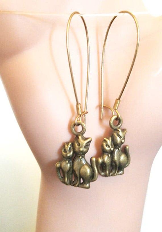 cat lover earrings antique bronze charm long dangles handmade jewelry USA seller