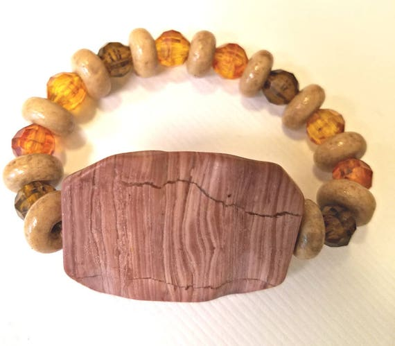 brown gemstone beaded bracelet stretch bead bracelet stone bracelet plastic wood beads boho hippy gypsy handmade wholesale jewelry