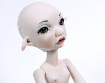Tiny BJD girl Pip, 29 cm, Artist doll BJD by miradolls, lavender skin with face-up and eyes