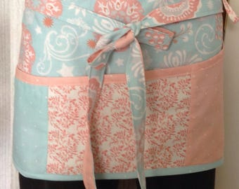 Vendor apron shabby chic pale Aqua and coral