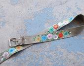 vintage Hand Painted Leather Belt -  Boho Hippie Floral Painted Leather Belt Folk Belt Sz XS S