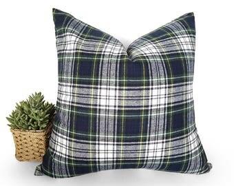 Rustic Christmas Pillows, Rustic Holiday Pillows, Wool Plaid Pillows, Blue Green White Plaid Pillow, Gordon Dress Tartan, 12x18, 18, 20