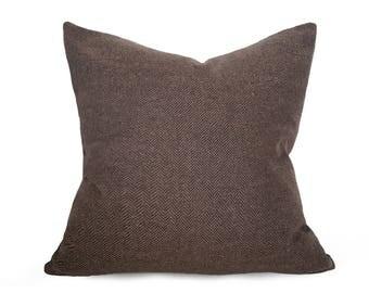 Brown Pillow, Herringbone Pillow, Farmhouse, Throw Pillow, Pillow Cover, Rustic Pillow, Brown Black, Wool, Winter, Zipper, 18x18, 20x20