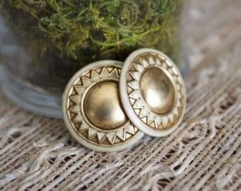 Vintage bronze / gold and enamel sunburst stud earrings