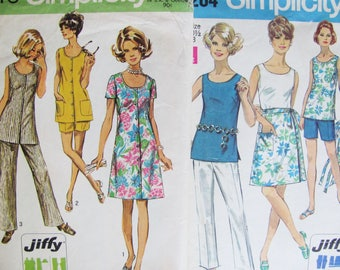 43 Bust, 2 Patterns Simplicity 8264 and 8846 Vintage 1970 / Easy to Sew Woman's Pants, Tops, Skirt, Dress 70s styles