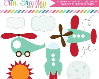 80% OFF SALE Transportation Clipart Clip Art Personal & Commercial Use Helicopter Airplane Rocketship in Turquoise and Red