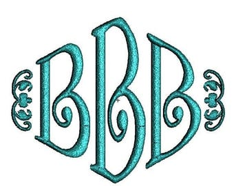 SALE 65% OFF Curly Diamond 3 Three Letter Machine Embroidery Monogram Fonts Designs 4x4 Hoop Instant Download Sale