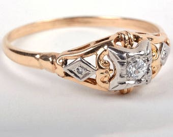 Vintage Diamond Ring, Diamond Engagement Ring, Two Tone Diamond Ring, Art Deco Style Diamond Ring, Wedding Ring, Special Gift, Fine Jewelry