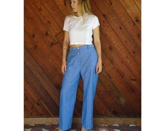 20% off SUMMER SALE. . . High Waist Chambray Woven Trouser Pants - Vintage 70s - M/L Petite