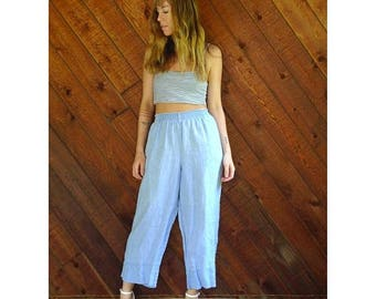 20% off SUMMER SALE. . . Chambray Linen 90s Capri Pants - Vintage - LARGE