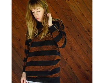 20% off SUMMER SALE. . . Slouchy Metallic Stripe Knit Pullover Sweater - Vintage 80s - M