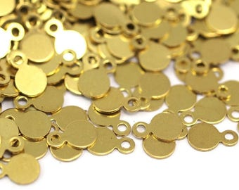 Brass Cabochon Tags, 500 Raw Brass Cabochon Tags, Stamping Tags (4.5mm) A0216