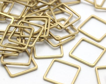 Brass Square Charm, 50 Raw Brass Square Connectors (12mm) Bs-1117