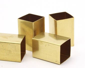Brass Tube Beads, 6 Huge Raw Brass Square Tubes (16x25mm) Bs 1525