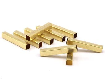 27 Raw Brass Square Tubes (5x30mm) Bs1604