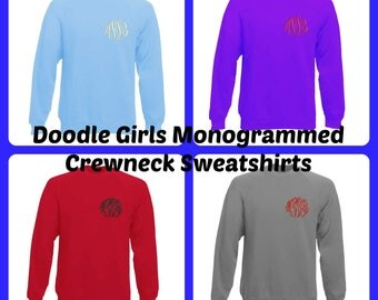 Monogrammed Crewneck Sweatshirt.  Ladies monogrammed sweatshirt.  Women's Monogrammed Crew Neck Sweatshirt.  Product ID-G1800