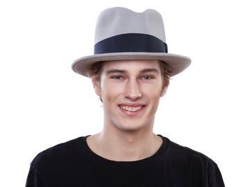 Men's Hats Fedora 1930s Hats Men's Gift Men's Fedora 1920s Hat 1940s Hat Men's Felt Hat Open Crown Fedora Pale Gray Dress Hat Mad Men Hat