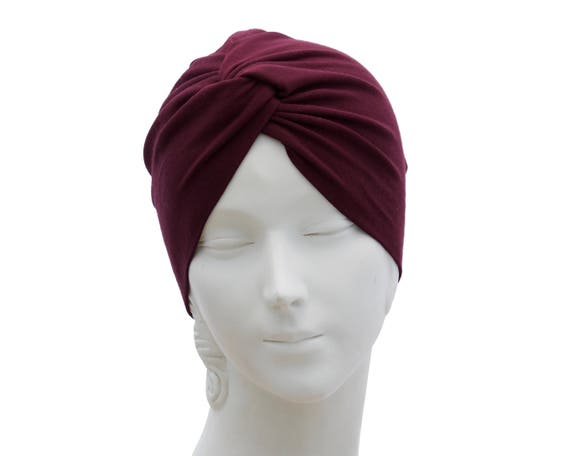 Burgundy Turban Hat Chemo Turban Women's Turban Hat Hair Covering Scarf Beach Coverup Chemo Cap Hair Scarf Fashion Turban 1940s Chemo Hat