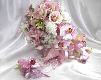 Violet Blush Rose and Orchid Cascading Bridal Bouquet and Boutonniere Set with Beaded Accents