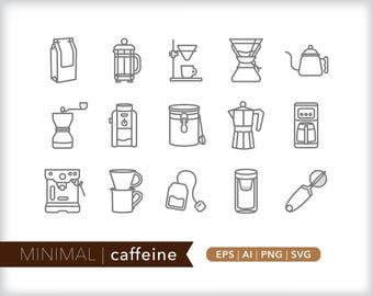 Minimal caffeine line icons | EPS AI PNG | Coffee Clipart Design Elements Digital Download