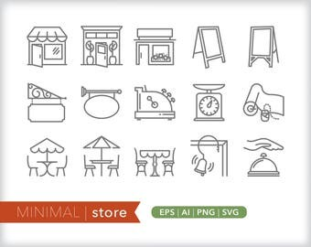 Minimal store line icons | EPS AI PNG | Geometric Shop Clipart Design Elements Digital Download