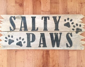 Salty paws Sandy paws outdoor barn wood art house name sign outside shower pool hot tub dog lovers pet sign BeachHouseDreamsHome Outer Banks
