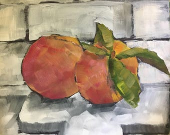 Peaches in the Kitchen original painting