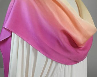NEW FOR SUMMER! Silk Scarf, Charmeuse, Hand Painted 100% Silk Charmeuse Scarf - Soft Yellow to Rose Pink