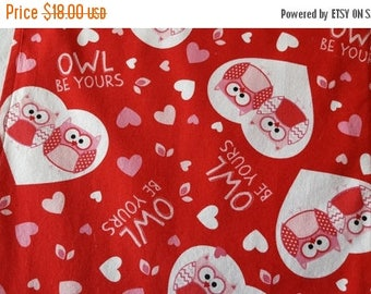 SALE Valentine's Day Table Runner Owls Hearts Owl Be Yours Padded