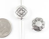 TierraCast Double-Sided Pewter Puffed Coin Beads-Silver LOTUS Flower 14mm (2 Pcs)