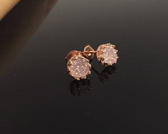 Mini White Druzy Studs Earrings in Rose Yellow Gold Vermeil and Sterling Silver  Victorian Style Crown Bezel Setting Valentines gift for her