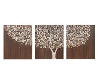 ON SALE Brown Painting of Tree - Original Acrylic Triptych Art on Canvas - Medium 35x14