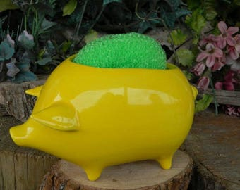 Pig Vase Planter in Bright Fruit Yellow    Ceramic Glazed from a Vintage mold design  with drain hole