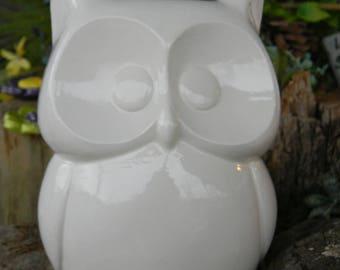 Ceramic OWL PLANTER  MEDium White Modern style   Garden Pottery Owl