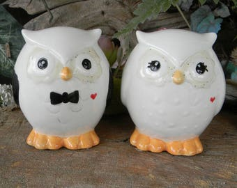 Owl Wedding Cake toppers  Owl Bride and Groom  Ceramic Glazed  Bird Lovers .Custom Owls   Mr Mrs Hootie