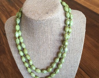 Vintage green beaded double stranded statement necklace