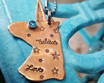 Unicorns I Believe, copper pendant, Whimsical pendant, BFF gift, Graduation gift, Inspirational Gift, Believe in Unicorns