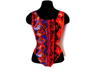 Vintage 90s Red Abstract One Piece Leotard Bodysuit Maillot Retro High Cut Spandex Festival Dance Workout Gym S Small