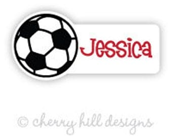 soccer Mini die cut labels 1.5 inches wide - seen in Parents Mag and Family Fun Mag - waterproof label - does not fade - dishwasher safe