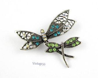 Dragonfly Dance Brooch Rhinestone Silver tone