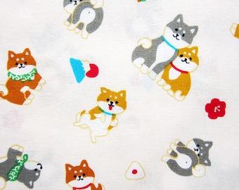 Animal Print Fabric - Shiba Inu Fabric - Japanese Fabric - Fat Quarter - Cosmo Textiles