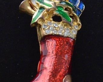 On sale Cute Vintage Enamel, Rhinestone Christmas Stocking Brooch (A1)