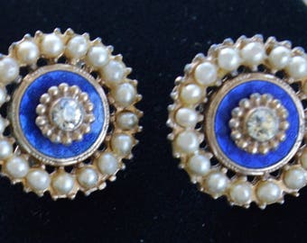 Royal Blue, Faux Pearl Screw Back Earrings, Gold tone, Vintage (D3)